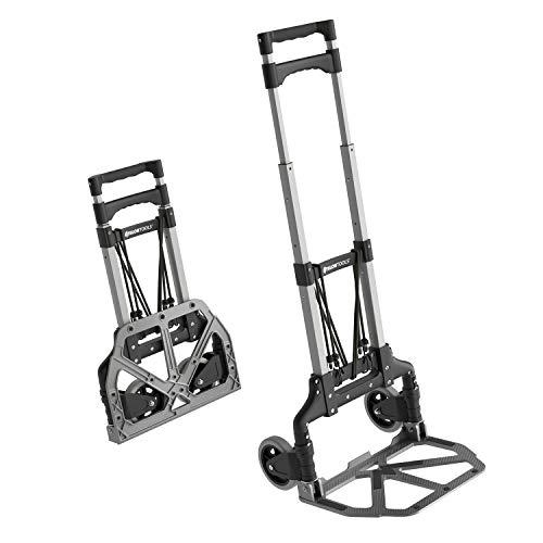 ATHLON TOOLS Aluminium-Transportkarre klappbar | Ladefläche mit Anti-Rutsch-Pads | Leichtgängige Räder mit Soft-Laufflächen |inkl. 2 Expanderseilen |Farbe: schwarz + alu