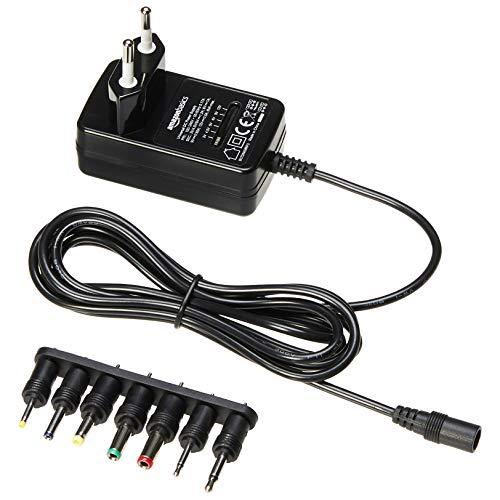 AmazonBasics - Universal-Steckernetzteil mit 7 abnehmbaren Steckern, 3-12V (Gleichspannung), umkehrbare Polarität
