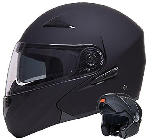 Klapphelm Integralhelm Helm Motorradhelm RALLOX 109 schwarz/matt mit Sonnenblende (S, M, L, XL) Größe L