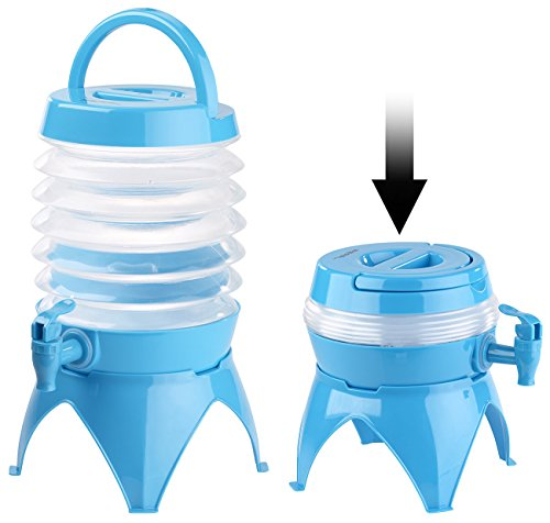 PEARL Wasserspender: Faltbares Fässchen, Auslaufhahn, Ständer, 3,5 Liter, blau/transparent (Camping Wasserkanister)