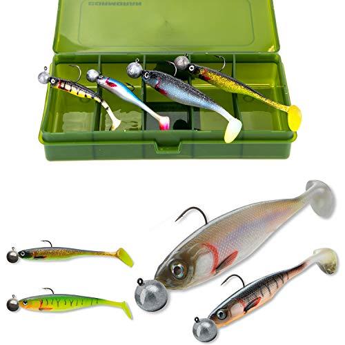 TheBigFish Gummifisch Set mit Box Shad Softbaits mit Jighaken