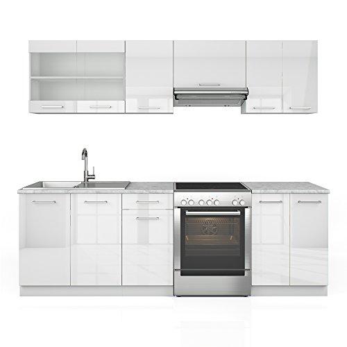 Küchenzeile 240 cm - 7 Schrank-Module frei kombinierbar - Küche Küchenblock Einbauküche – Hochglanz (Weiß Hochglanz)