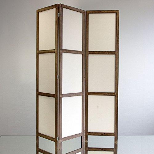 NEG Paravent Rigel (shabby chic weiß) Raumteiler/Sichtschutz aus Echt-Holz und Baumwolle (spanische Wand)