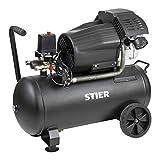 STIER Kompressor LKT 600-10-50 für Druckluft-Werkzeug, 2200 W, 10 bar, 50 Liter Tank, 41 kg, geeignet für Anwendungen mit hohem Luftbedarf, Reifenwechsel, Bauarbeiten