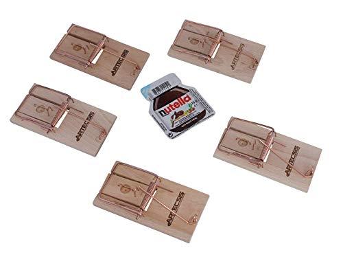 ARTECSIS 5er Set Mausefallen aus Holz mit Köder, Schlagfalle, Schnappfalle, hohe Schlagkraft