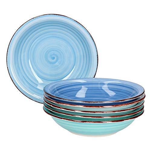 MamboCat Teller-Set Blue Baita für 6 Personen | Suppenteller tief | 750 ml | Salat-Teller | runde Servier-Schale | Porzellan-Schüssel | handbemalt | Mehrfarbig