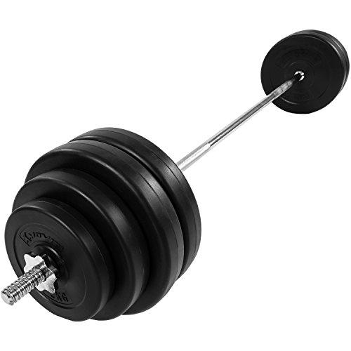MOVIT Langhantel Set 60,5 kg, Stange verchromt und gerendelt mit Sternverschlüssen, inkl. 8 Hantelscheiben, Hantelset Langhantelstange Gewichte Gewichtsscheiben Hantelscheiben