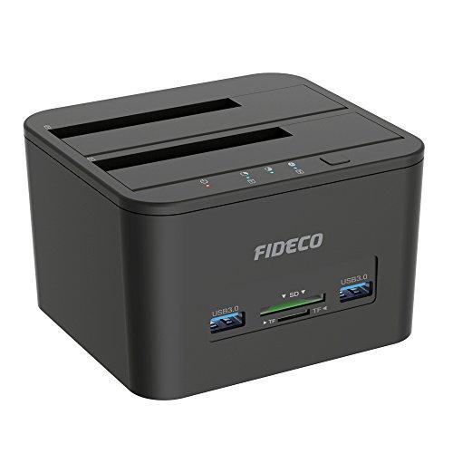 Festplatten Dockingstation, FIDECO USB Festplatten Docking Station Offline Klonfunktion für 2,5 Zoll & 3,5 Zoll HDD SSD SATA, Unterstützt TF & SD Karte
