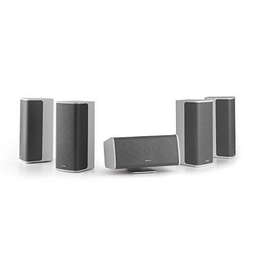 NUMAN Ambience 5.0-Lautsprecher-System • 5.0 Surround-System • Heimkino Set • 4 x Satellitenlautsprecher • je 60 Watt RMS • Center-Lautsprecher mit Aluminium-Standfuß • integriertes Wandmontagesystem • inkl. 30 m Lautsprecherkabel • weiß