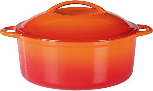 GSW 717243 Shadow Kochtopf mit Deckel 4 L, Gusseisen, orange/creme, 24 cm 2 Einheiten