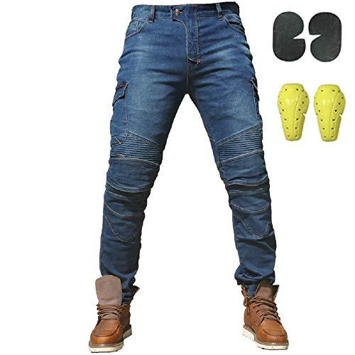 Sportliche Motorrad Hose Mit Protektoren Motorradhose mit Oberschenkeltaschen Blau (XL- (Waist 36.5'))