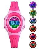BHGWR Kinder und Jugendliche Digital Quarz Uhr mit Rosa Plastik Armband Tägliche Wasserdicht Digitaluhr LED Sport Uhren für Mädchen mit Stoppuhr/Wecker/EL-Licht