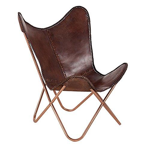 Echtleder Sessel BUTTERFLY echtes Leder braun Eisengestell in Kupfer Stuhl Lounge Esszimmer Klappstuhl Loungesessel Liegestuhl Luxus Campingstuhl