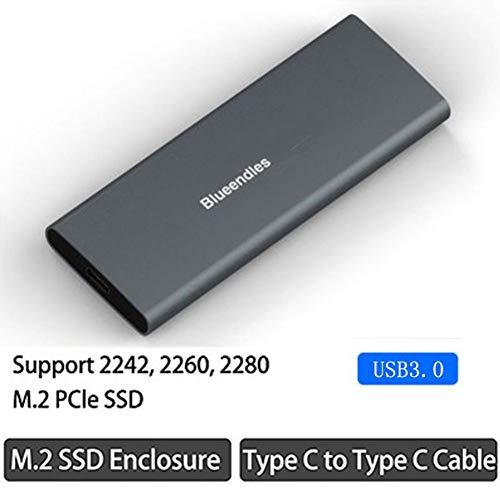 M.2 / Msata SSD-Laufwerksgehäuse 2242/2260/2280 USB 3.0 Typ C Festplattengehäuse TEEKOO