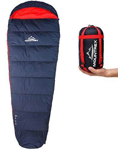MOUNTREX Schlafsack - Kleines Packmaß & Ultraleicht (720g)   Outdoor Sommer Schlafsack - Mumienschlafsack (205x75cm)   Kompakt, Warm und Leicht   für Camping, Reise oder Festival - Koppelbar