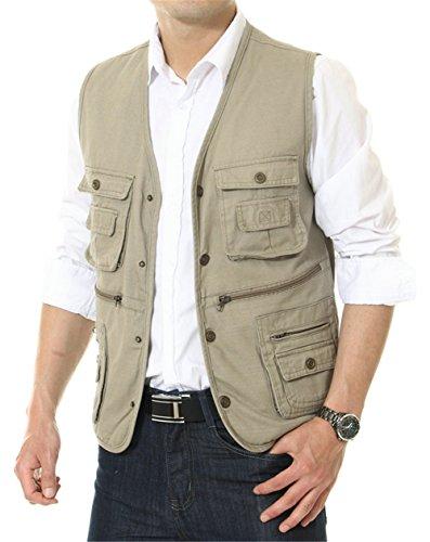 APTRO Herren Weste Outdoor Multi Pockets Weste Khaki L(Tag 3XL)