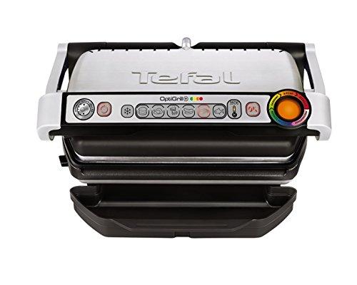 Tefal GC712D12 Optigrill plus, Plus-Modell mit zusätzlichen Temperaturstufen (2000 Watt, automatische Anzeige des Garzustandes, 6 voreingestellte Grillprogramme) schwarz/silber