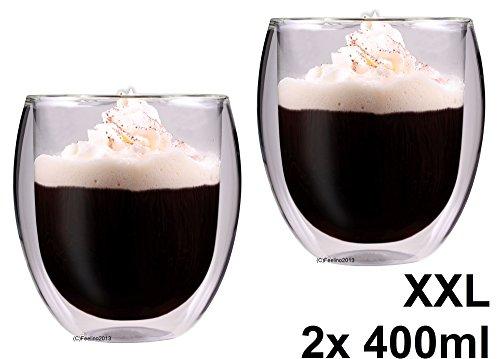 AKTION: 2x 400ml doppelwandige Thermo-Teegläser / Kaffeegläser 'Rondini' extra groß mit Schwebeeffekt von Feelino
