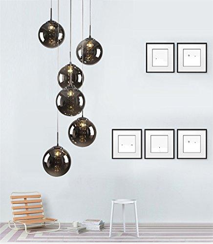 CBJKTX Pendelleuchte esstisch Pendellampe Höheverstellbar Kronleuchter Hängeleuchte 6-Flammig aus Glas drehbar-Treppenleuchte Wohnzimmerlampe Schlafzimmerlampe Flurlampe (Rauchgrau, 6-Flammig)