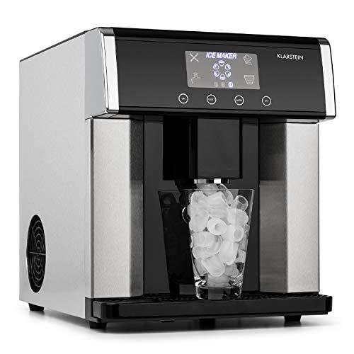 Klarstein Eiszeit Eiswürfelmaschine • 3 Eiswürfelgrößen • 10-15 kg/24h • LCD-Display • Wassertankkapazität: 3 Liter • Eiskapazität: 600 g • Alarmfunktion • Gehäuse aus gebürstetem Edelstahl • silber