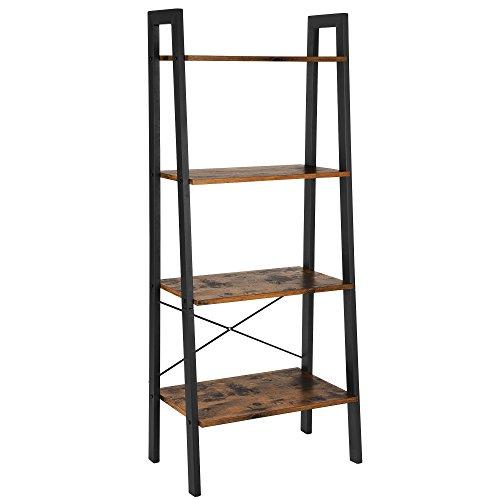 SONGMICS Bücherregal, 4 Ebenen Standregal, Eckregal, Stabiles Metall für den Rahmen, einfache Montage, für Wohnzimmer, Schlafzimmer, Küche, vintage, LLS44X