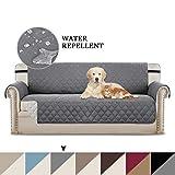 Sofa Cover Reversible Couch Schonbezug Möbelschutz, 2 Zoll breiter, elastischer Riemen, Maschinenwäsche, Schonbezug für Haustiere, Hunde, Kinder (3-Sitzer/Sofa: Grau/Beige)