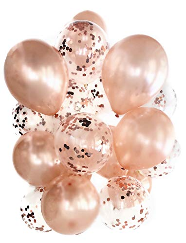 Cavore Konfetti Luftballon Set Rosegold metallic – 20 Stück – Moderne Party-Dekoration – für Geburtstag, Hochzeit, Silvester, Baby-Shower