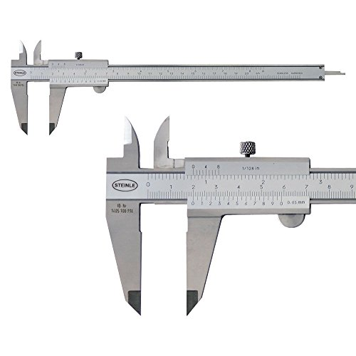 STEINLE 1102 Taschen Messschieber 150 mm mit Feststellschraube, Ablesung: 0,05 mm DIN862 - inkl. Gewindetabelle, Gewicht: 0.28