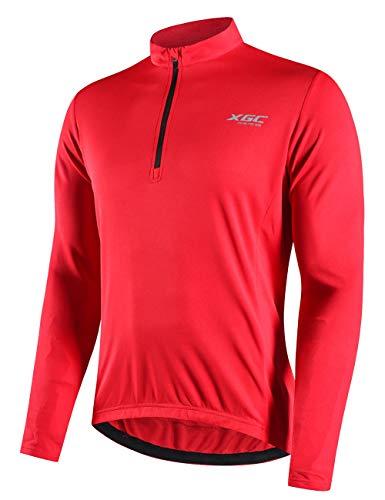 Herren Langarm Radtrikot Fahrradtrikot Radshirt Fahrradshirts Fahrradbekleidung für Männer mit Elastische Atmungsaktive Schnell Trocknen Stoff (Red, XXL)