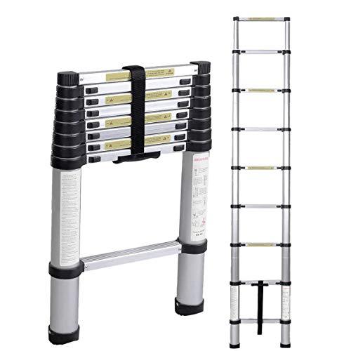 Teleskopleiter Haushaltleiter 2,6 M tragbar faltbar Leiter aus Aluminium Dachbodenleiter Mehrzweckleiter KS-JF-002