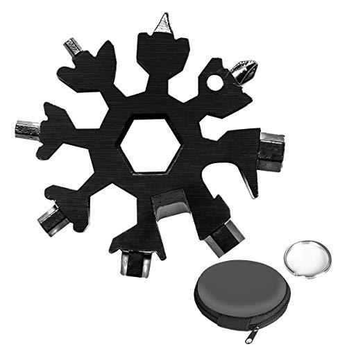 Aitsite Schneeflocke Multi-Tool 18-in-1 Tragbares Edelstahl-Multifunktionswerkzeug für Outdoor-Abent (Schwarz)