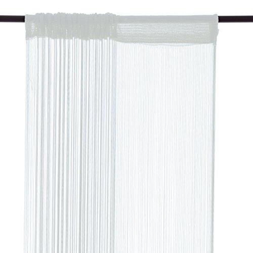 Smartfox Fadenvorhang, 100 x 250 cm in Weiß, Fadengardine Fadenstore Vorhang Schal Faden