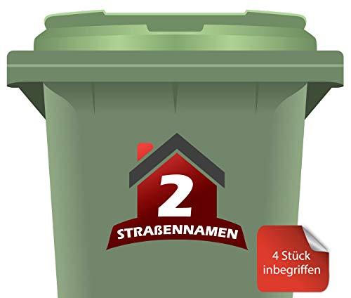 RJWprint Mülltonnen-Aufkleber Personalisierbar mit Adresse/Straßennamen 15 x 12 cm, 4 Stück
