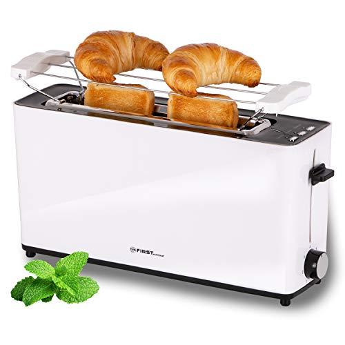 TZS First Austria - 2 Scheiben Langschlitztoaster Toaster mit Nachhabe-Funktion, Cool-Touch Gehäuse, integrierter Brötchenaufsatz, Krümelschublade, Sandwichtoast geeignet, Langschlitz-Toaster, weiß