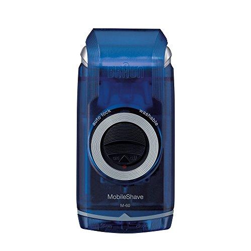 Braun MobileShave M-60 elektrischer Rasierer (vollständig abwaschbarer Rasierapparat, Elektrorasierer für unterwegs) transparent-blau