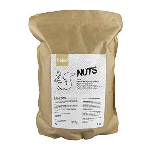 belso Nuts natürliches Eichhörnchenfutter 2 kg ganzjährig fütterbar, artgerechtes Futter für Eichhörnchen im Garten Futterhaus Häuschen