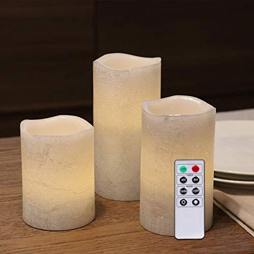Rhytsing 3 Flammenlose LED Wachskerzen Sliber Metallicfinish Rustik-Design mit Fernbedienung und Timerfunktion, Inklusive Batterien