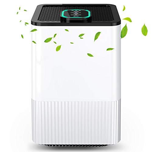 Luftreiniger 4 in 1 mit Echtem HEPA-Filter und Ionisator, Luftreiniger für zu Hause mit Luftqualitätsanzeige und Timer, Capture Allergien, Staub, Pollen, Rauch, Tierhaare usw. Ideal für Zuhause, Büro