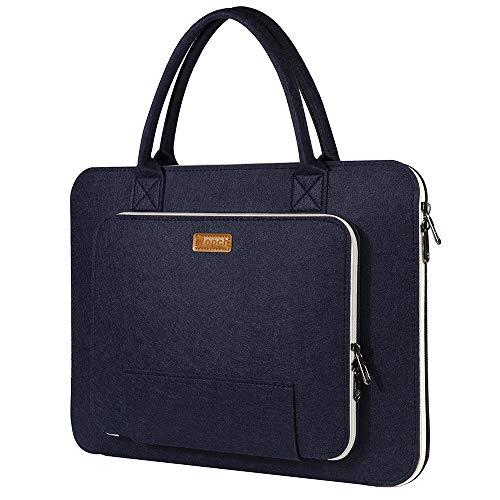 Ropch 17,3' Zoll Laptoptasche, Laptop Schutzhülle Filz Notebooktasche Aktentasche Laptop Hülle Sleeve Tasche mit Griff für 17 Zoll Dell/ HP/ Lenovo/ Acer/ Asus, Marineblau und Cremeweiß