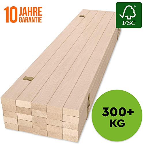 HansaBirke Rollrost 120x200cm - 300 kg 25 Leisten - Hochwertiger Extra starker Rollattenrost aus echtem Birkenholz - FSC Lattenrost unbehandelt - Lattenrollrost Premium