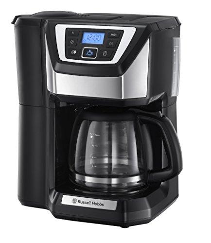 Russell Hobbs 22000-56 Digitale Glas-Kaffeemaschine Chester Grind&Brew, 1.5l, integriertes Mahlwerk, Quiet-Brew-Technologie, 1025 Watt, Edelstahl/schwarz