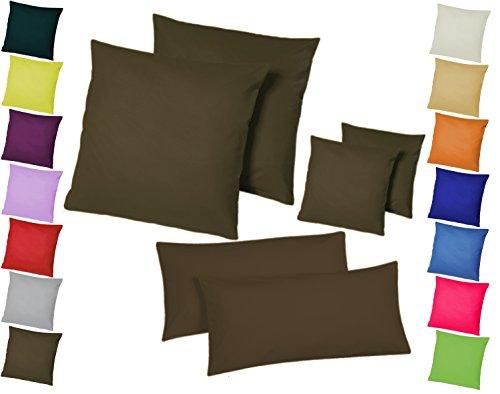 Home-Impression Doppelpack / 2er Set Microfaser Kissenhüllen/Kissenbezüge - Wohndekoration in schlichtem Uni Design mit Reißverschluss und in 3 Größen (80 x 80 cm, Braun)