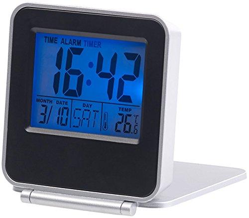 PEARL LED Wecker: Kompakter Digital-Reisewecker mit Thermometer, Kalender und Timer (Wecker mit Raumthermometer)