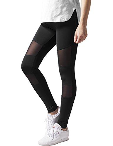 Urban Classics Ladies Tech Mesh Sport Leggings, lange Damen Fitnesshose mit halbtransparenten Einsätzen, Schwarz (black 7), Gr. S