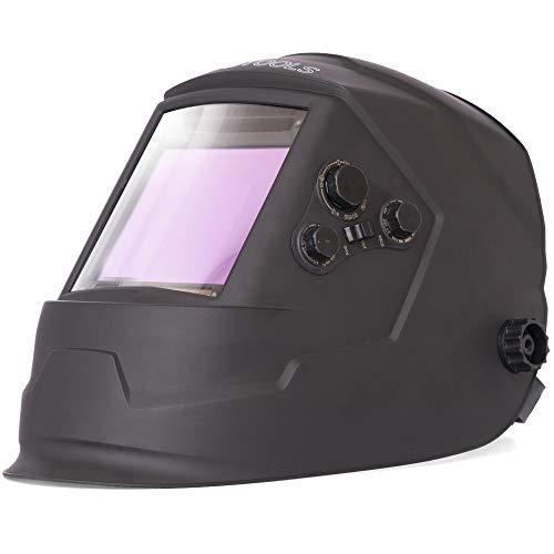 Automatik Schweißhelm IPOTOOLS LY800H - 4 hochwertige Sensoren, extra großes Sichtfeld (100 × 93mm) Volleinstellbar Solar Schweisshelm für alle Schweißanwendungen mit Schutzstufen DIN 4/5-9/9-13