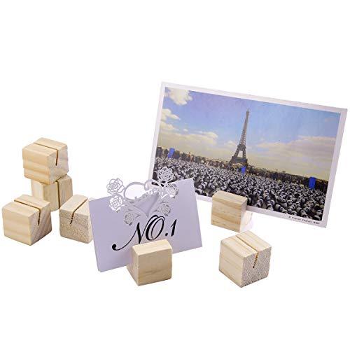 Anladia 20xHolz Würfel 3CM Kartenhalter Platzkarte Tischkartenhalter mit Rille Namesschild Fotohalter Ständer Hochzeit Deko