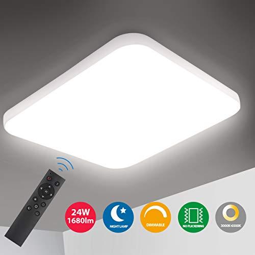 Oeegoo LED Deckenleuchte Dimmbar, 24W 1680Lm LED Deckenlampe Dimmbar mit Fernbedienung, Einstellbare Lichtfarbe und Helligkeit, Flimmerfreie Wohnzimmerlampe Schlafzimmerlampe Kinderzimmerlampe