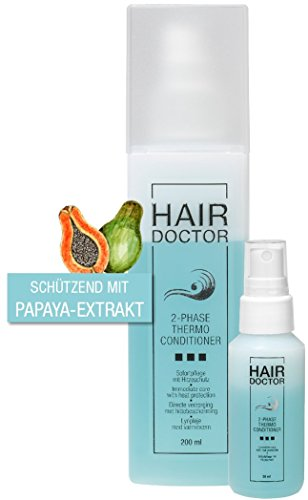 Hair Doctor 2- Phase Thermo Conditioner 2 Produkte in Einem Feuchtigkeitsspendende Leave in Pflege und extra Hitzeschutz, mehr als ein Hitzeschutzspray 200ml + Gratis Reisegröße 50ml