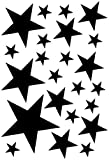 Samunshi Sterne Aufkleber Set gefüllt 14x2,5cm6x5cm2x7,5cm1x10cm schwarz