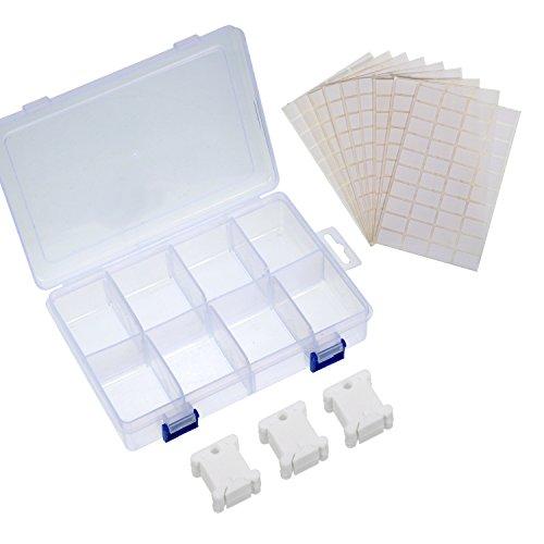 Sumind 100 Stück Weiß Plastik Stickgarn Spulen Kreuzstich Stickerei Faden Spulen mit Kunststoffbox und 500 Stück Leere Aufkleber